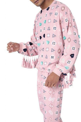 PS-FW797  Pink Colour Printed Art Crepe Oversized Top with Jogger Pant