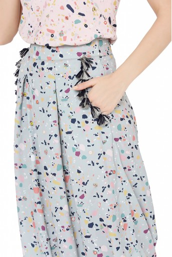 PS-FW790  Pink Colour Printed Art Crepe Racer Back Top with Green Colour Printed Art Crepe Low Crotch Pant