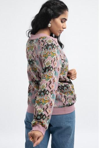 PS-JK0003-F  Pink Colour Printed Art Georgette Bomber Jacket
