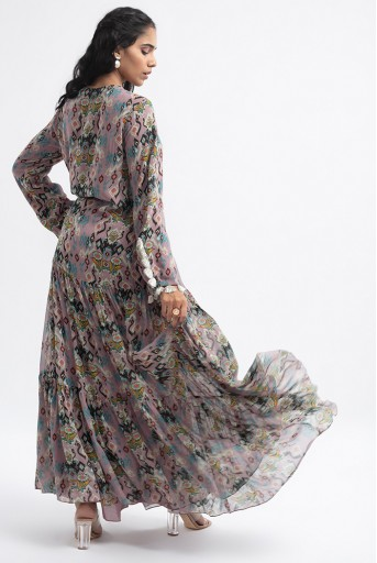 PS-DR0014  Pink Colour Printed Art Georgette Tiered Dress