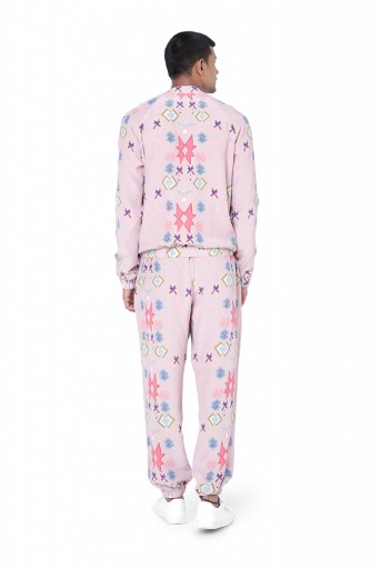 PS-FW737  Pink Colour Printed Crepe Bomber Jacket with Jogger Pant