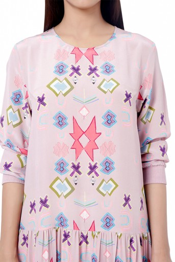PS-TU1533  Pink Colour Printed Crepe Frill Hem Tunic