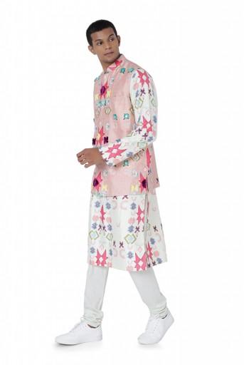 PS-FW740-A  Pink Colour Printed Dupion Silk Bandi with White Colour Printed Silkmul Kurta and Off White Colour Cotton Silk Churidar