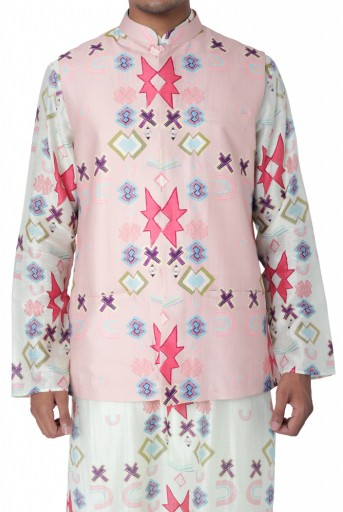 PS-FW740  Pink Colour Printed Dupion Silk Bandi with White Colour Printed Silkmul Kurta and Off White Colour Cotton Silk Churidar