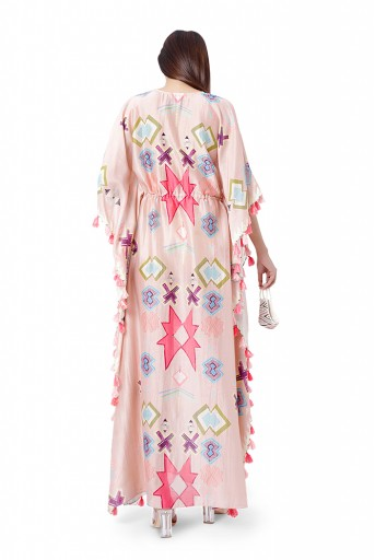 PS-KF0058  Pink Colour Printed Silkmul Kaftaan