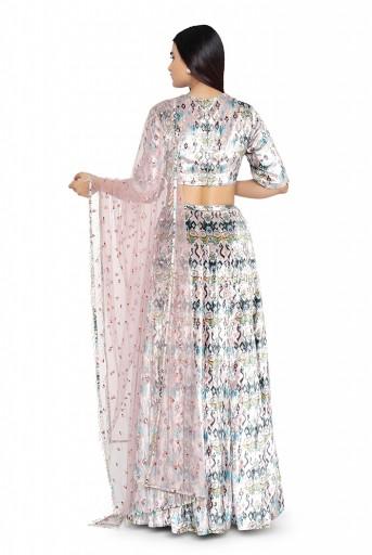 PS-FW629-C  Pink Ikat Love Printed Velvet Choli with Lehenga and Net Dupatta