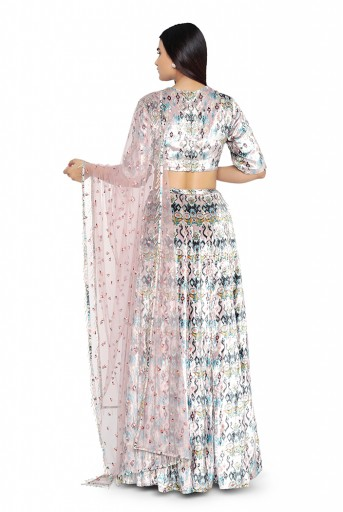 PS-FW629-C-1  Pink Ikat Love Printed Velvet Choli with Lehenga and Net Dupatta