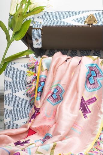 PS-SC0106  Pink Ikat Star Print Silkmul Full Width Scarf with Tassels