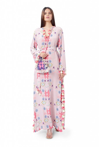 PS-KF0046-M  Pink Printed Crepe High-Slit Kaftaan with Belt