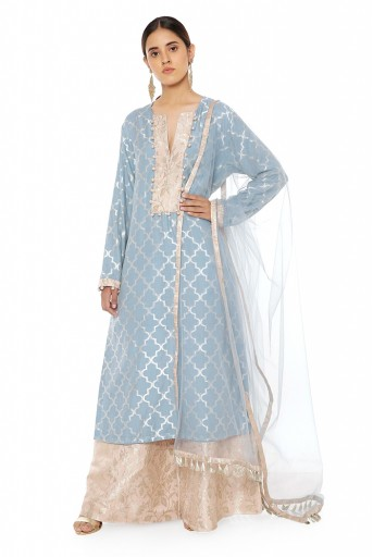 PS-KP0052  Powder Blue Colour Banarasi Silk Kurta with Rose Pink Colour Banarasi Silk Palazzo and Podwer Blue Net Dupatta with Rose Pink Colour Banarasi Silk Patterned Detail and Matching Structured 3 Ply Mask