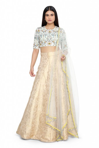 PS-ST1482-1  Powder Blue Colour Georgette Choli with Net Dupatta and Blush Colour Brocade Lehenega