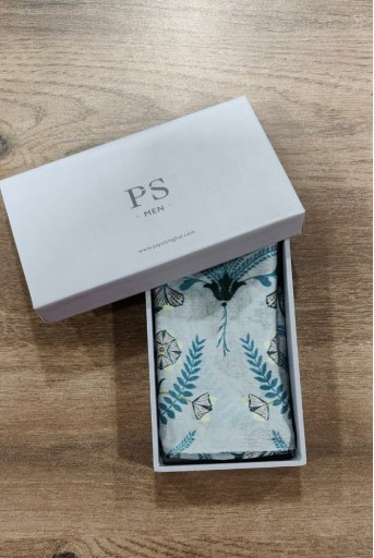 PS-PS089  PS Men Powder Blue colour printed silkmul pocket square