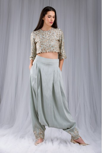 PS-ST0992 Powder Blue Dupion Silk Crop Top with Low Crotch Pant