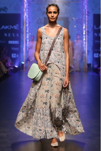 PS-FW545-1 Powder Blue Printed Crepe High-Low Kurta with Frill Palazzo and Dusky Rose Mukaish Georgette Dupatta