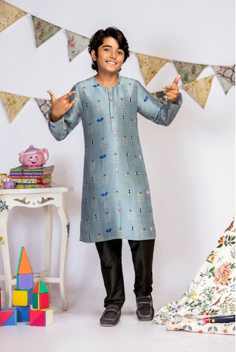 PS-KB0001 Powder Blue Printed Silk Kurta with Black Cotton Silk Churidar
