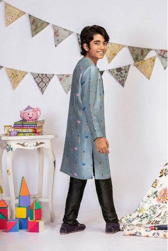 PS-KB0001 Powder Blue Printed Silk Kurta with Black Cotton Silk Churidar