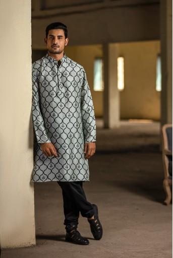 PS-MN027 Powder Blue Printed Silk Kurta with Off White Cotton Silk Churidar
