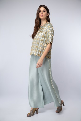 PS-ST1189 Powder Blue Silk Top with Palazzo