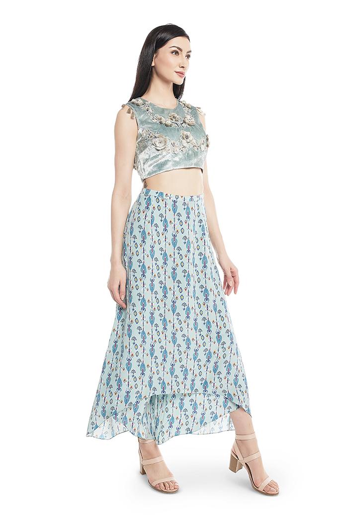 Powder Blue Velvet Choli With Blue Printed Crepe Skirt Palazzo