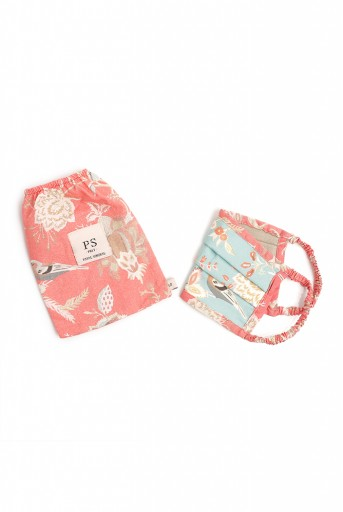 PS-MS0063  PS Kids Aqua and Coral Chidiya Print Pleated 3 Ply Mask with Pouch for Kids