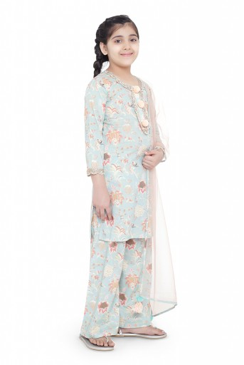 PS-KG0072  PS Kids Aqua Colour Printed Cotton Kurta with Palazzo and Blush Colour Net Dupatta for Girls
