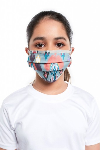 PS-MS0061  PS Kids Blue and Stone Ikat Garden Print Pleated 3 Ply Mask with Pouch for Kids