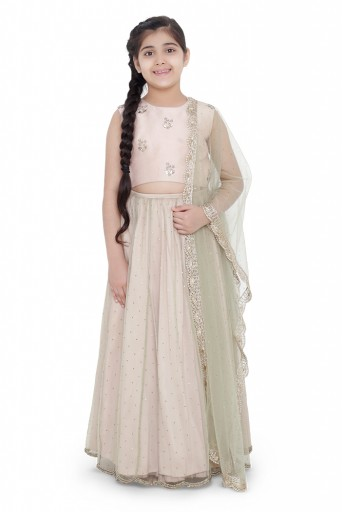 PS-KG0076  PS Kids Blush Colour Silk Embroidered Choli with Mint Colour Mukaish Net and Blush Colour Silk Lehenga with Mint Colour Net Dupatta for Girls