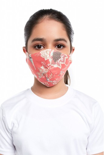 PS-MS0058  PS Kids Coral Chidiya Print Structured 3 Ply Mask with Pouch for Kids