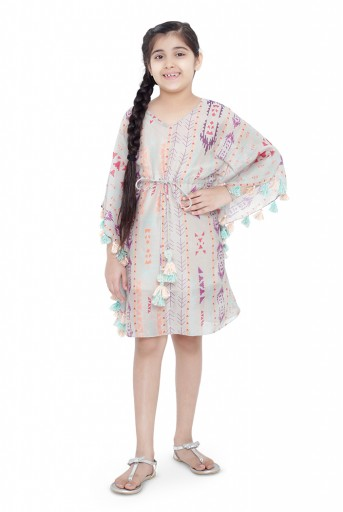 PS-KG0071-C  PS Kids Grey Colour Printed Silkmul Kaftaan for Girls