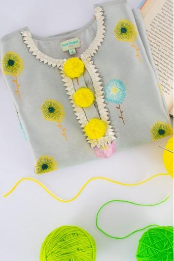 PS-KG0082  PS Kids Grey print Silkmul Tunic