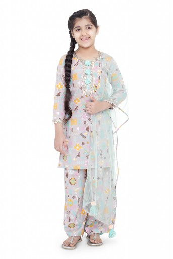 PS-KG0072- A  PS Kids Lavender Colour Printed Cotton Kurta with Palazzo and Aqua Colour Net Dupatta for Girls