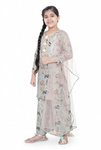 PS-KG0072- C  PS Kids Mint Colour Printed Cotton Kurta with Palazzo and Blush Colour Net Dupatta for Girls