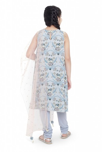 PS-KG0035  PS Kids Powder Blue Colour Printed Art Georgette Kigh Low Kurta with Pale Blue Colour Soft Net Churidar and Blush Colour Net Dupatta for Girls