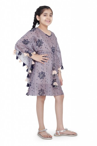 PS-KG0071-A  PS Kids Purple Colour Printed Silkmul Kaftaan for Girls