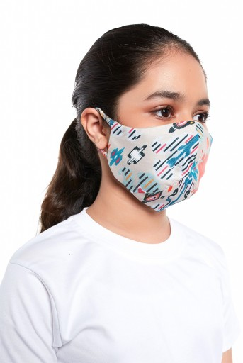 PS-MS0056  PS Kids Stone Ikat Garden Print Structured 3 Ply Mask with Pouch for Kids