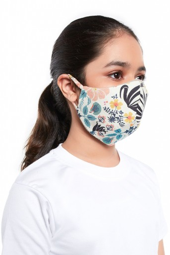 PS-MS0057  PS Kids Tulip Garden Print Structured 3 Ply Mask with Pouch for Kids