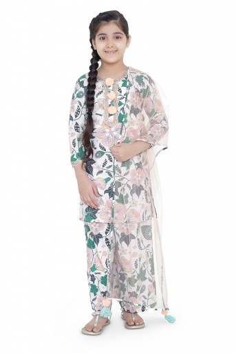 PS-KG0072- B  PS Kids White Colour Printed Cotton Kurta with Palazzo and Blush Colour Net Dupatta for Girls