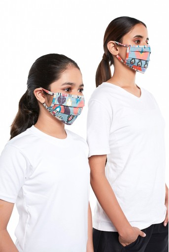 PS-MS0079  PS Masks Twin Set - Blue and Stone Ikat Garden Print Pleated 3 Ply Masks with Pouches