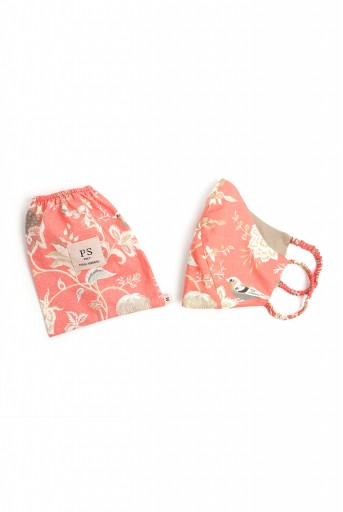 PS-MS0074  PS Masks Twin Set - Coral Chidiya Print Structured 3 Ply Masks with Pouches
