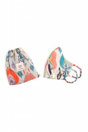 PS-MS0073  PS Masks Twin Set - Stone Ikat Garden Print Structured 3 Ply Masks with Pouches