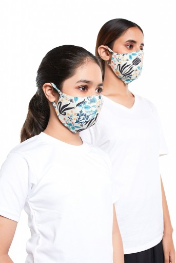 PS-MS0072  PS Masks Twin Set - Tulip Garden Print Structured 3 Ply Masks with Pouches