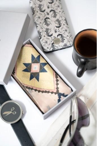 PS-PS152  PS Men Blush Mosaic Diamond print silkmul Pocket Square