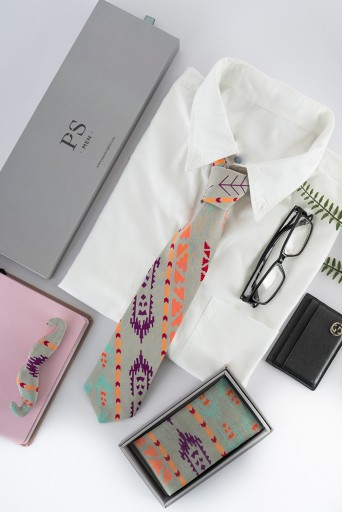 PS-TPM002  PS Men Grey Ikat Stripe Print Crepe Tie with Matching Moustache Pin/Broach and Silkmul Pocket Square (Set of 3)