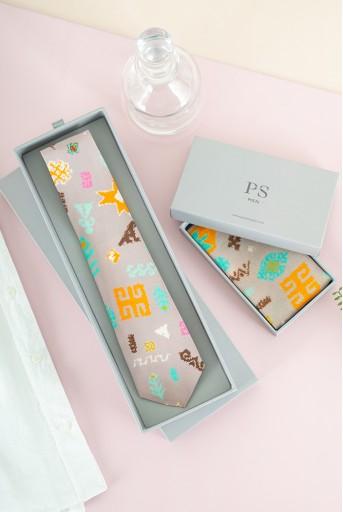 PS-TIE105  PS Men Lavender Orange Bandhani Kilim Print Crepe Tie