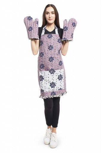 PS-AM0003  Purple and Grey Colour Printed Canvas Apron with Mittens and Pouch Set in Gift Box