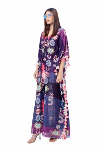 PS-KF0059  Purple Colour Printed Silkmul Kaftaan
