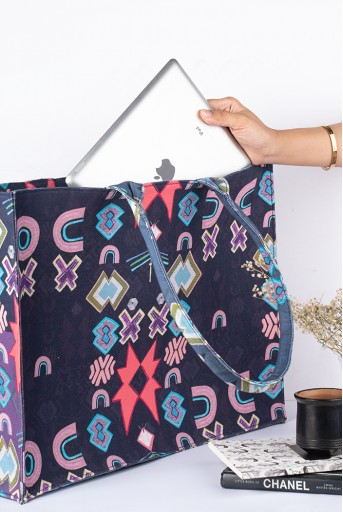 PS-BG0065  Purple Ikat Star Print Canvas Tote Bag