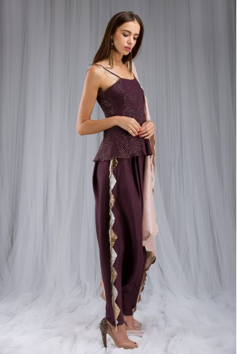 PS-ST0976 Purple Mukaish Georgette Peplum Top with Silk Low Crotch pant and Blush Silk Dupatta