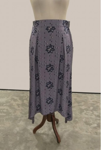 PS-ST0814-Z-1 Purple Printed Crepe Low Crotch Pant