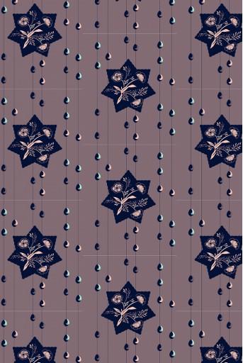 PS-TU1430  Purple Star Print Full Width Scarf